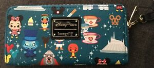 DISNEY PARKS LOUNGEFLY MAGIC KINGDOM ATTRACTIONS WALLET NWT