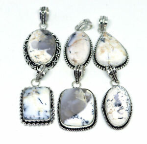 Hot Sale !! 100 PCs Natural Dendritic Agate Gemstone .925 Silver Plated Pendants