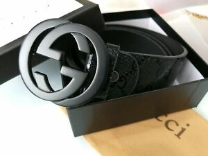 NEW!Authentic GUCCI-Men's Leather Belt in Black 110CM: 31-34 inch Waists