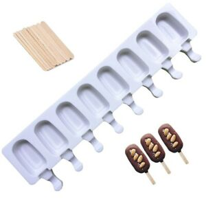 8 Cell Silicone Ice Cream Mold Juice Popsicle Maker Ice Lolly Pop Mould + Sticks