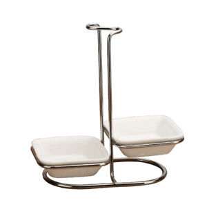 Spoon Rest Cooking Holder Rack Organizer Stainless Steel Double square bowl