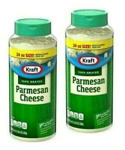 NEW KRAFT 100 % GRATED PARMESAN CHEESE 2 PACKS - 24 OZ EACH FREE EXPEDITED SHIP