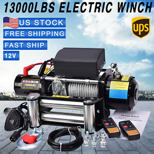 13000lbs 12V Electric Recovery Winch Truck SUV Wire Rope Remote Control 4WD US