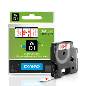 DYMO Standard D1 Labeling Tape for LabelManager Label Makers, Red print on White