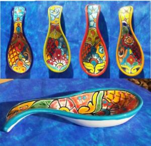 Talavera Ceramic Spoon Rest Mexican Hand Painted Concave 8x3x1
