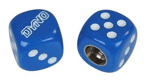 Dyno outline old school BMX bicycle tire Schrader valve DICE caps (PAIR) BLUE