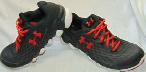 Youth Boys Red & Black UNDER ARMOUR Spine Sneakers Shoes Sz 5 Y