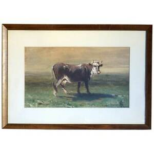 Antique American HARVEY OTIS YOUNG Oil Painting Cow c. 1900