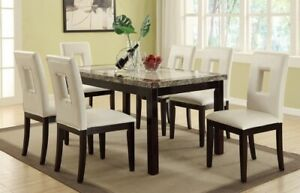 faux marble dining table And 6 Chairs ... Beautiful Dining Set