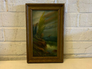 Vintage Antique Signed Oil Painting of a Seascape Landscape $175.00