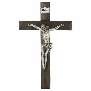 Jesus Crucifix Silver Tone and Natural Brown 8 inch Resin Stone Wall Cross $19.51