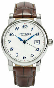 Montblanc Star Date Brown Leather Band Automatic Unisex's Watch 107315