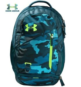 Under Armour UA Hustle 4.0 Backpack Teal Vibe Blue Camo School Bag 1342651 417 $52.97