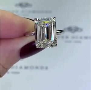 Certified 4.17Ct White Emerald Diamond Solitaire Engagement Ring 14K White Gold