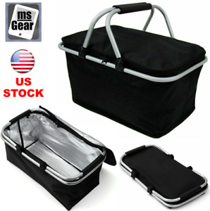 30L Insulated Thermal Bag Large Folding Picnic Basket Cooler Waterproof 18x11x9