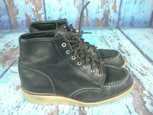 Red Wing Heritage 3373 Black Leather 6-Inch Moc Work Boots Women's Size: 9 B