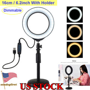 LED Round Light Studio Photo Video Dimmable Lamp Vlogging Selfie Camera Phone
