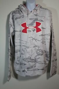 Under Armour Women's Semi Fitted Performance Hoodie Sweatshirt Snow Camo Pink XL