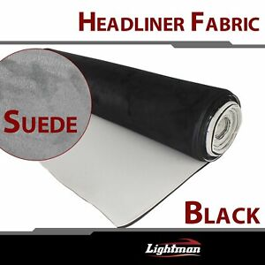 Synthetic Suede Headlining Ceiling Fabric Upholstery Car Top Liner Sponge Black