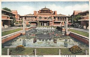 Imperial Hotel Tokyo Japan - Frank Loyd Wright Early Colored Post Card