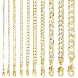 10K Yellow Gold 2mm 10.5mm Diamond Cut Pave Cuban Chain Necklace Bracelet 7 30
