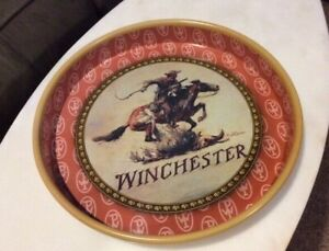 VINTAGE RARE WINCHESTER REPEATING ARMS CO. METAL SERVING TRAY DISPLAY  TRAY 13