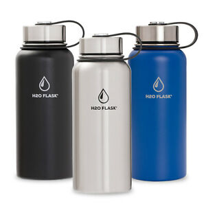 H20 Flask Water Bottle Stainless Steel Insulated Wide Mouth with Lid