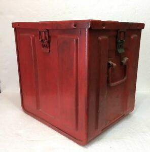 Vintage Red Empty Metal Ammo Box - Packing Metal For Fuze VT - 1954