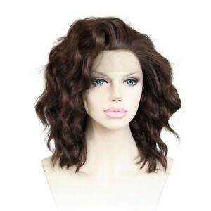 Beautiful Attractive Synthetic Front Lace Short Brown Wavy Fashion Wig