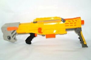 Nerf Yellow Longshot CS-6 Sniper Rifle Dart Gun has Clip and Stand TESTED