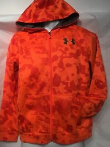 Under Armour Youth Large YLG Youth Blaze Orange Camo Pattern Full Zipper Hoodie