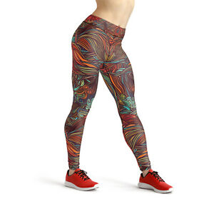 Abstract Spiral Yoga Leggings Womens High Waisted Pants Unique Colorful Artwork