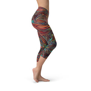 Abstract Spiral Yoga Capri Leggings Unique Colorful Artwork High Waisted Capris