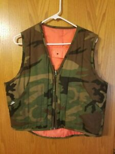 reversible hunting vest youth m old school camo and blaze prange