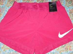 NEW WOMENS SIZE LARGE RASPBERRY PINK NIKE FLEX DRY-FIT TRAINING SHORTS 891974