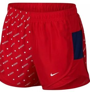 NWT Nike Women's Dri-Fit Tempo Running Shorts Size Large Red White Star Print