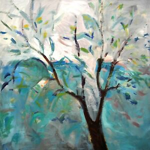 Large Art Canvas Original Acrylic Spring Tree Painting. 30in x 30in by Hunoz $375.00