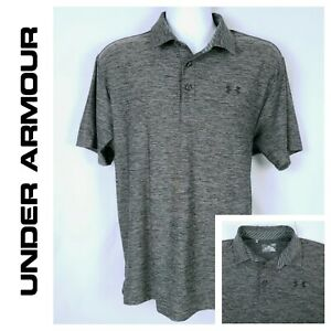 Under Armour Men's Large Gray Golf Polo Shirt Heatgear Loose Fit Short Sleeve