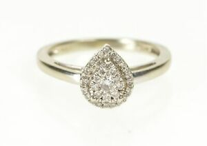 10K Pear Diamond Cluster Halo Engagement Ring Size 6 White Gold *87