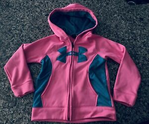 UNDER ARMOUR Girls Big Logo Twist Hoodie Full Zip Pink sz 12