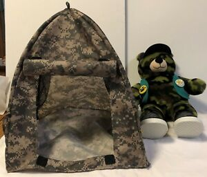 Build a Bear Scout & Tent Stuffed bear in hat vest shoes & camouflage camp set