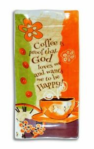 Coffee is Proof God Loves 9 x 4 inch Ceramic Stoneware Decorative Spoon Rest