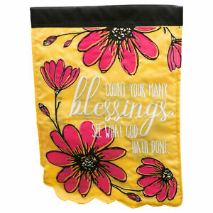 Count Your Blessings See God Rectangular Double Applique Small Garden Flag