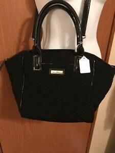 Vera Bradley Trimmed Quilted Handbag Tote Classic Black Moon Blooms Lining