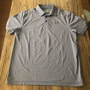 Under Armour Heat Gear Striped Men's Loose Fit Polo Shirt Size L #13486