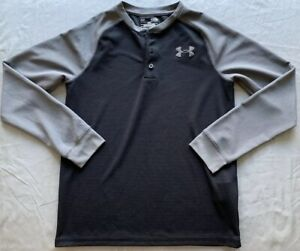 Under Armour Boys Black & Gray Coldgear Athletic Henley Shirt Sz YLG Large