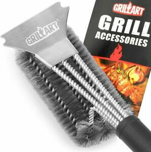 Grill BBQ Brush and Scraper 18 Inch Stainless Steel Woven Wire 3 in 1 Bristles