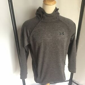 Under Armour Mens Large Gray Pullover Hoodie Coldgear Hood And Breast Logo C4