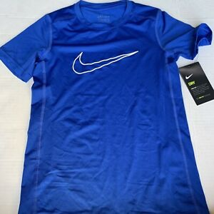 New Nike Dry Dri-Fit Short Sleeve Boys Size Small 891429-480 Blue Fitted Train