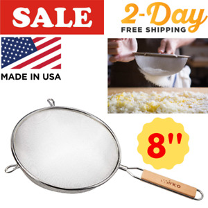 Double Mesh Strainer Colander Sieve Sifter Stainless Steel Fine  8